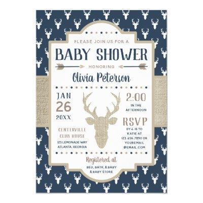 Woodland Baby Shower Invitation, Navy, Burlap Invitation