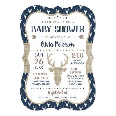 Woodland Baby Shower Invitations, Navy, Burlap Invitations