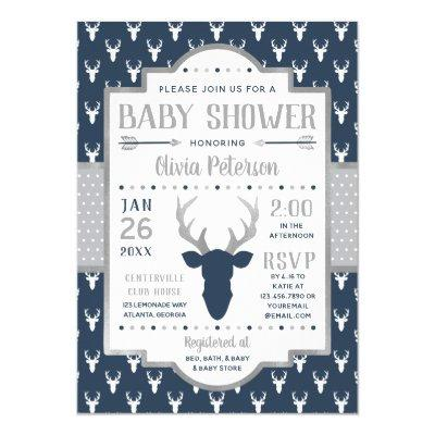 Woodland Baby Shower Invitations, Navy, Gray Invitations