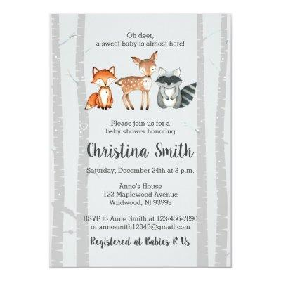 Woodland Baby Shower Invitation-Watercolor Animals Invitation