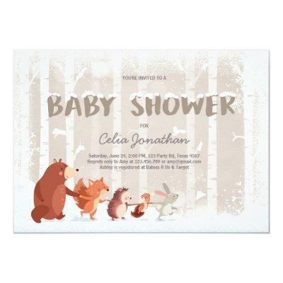 Woodland Baby Shower invitation Winter Snowflakes
