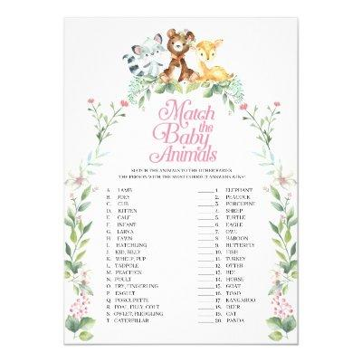 Woodland Baby Shower Match The Baby Animals Game Invitation
