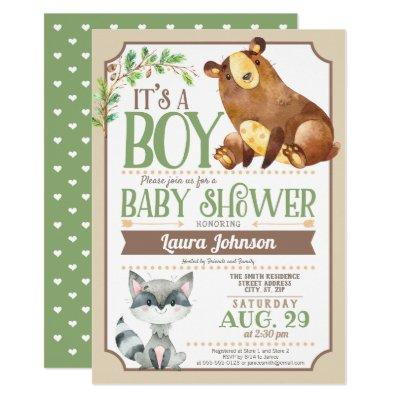 Woodland Bear & Raccoon Boy Baby Shower Invitations
