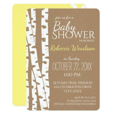 Woodland Birch Tree Rustic Baby Shower Invitations