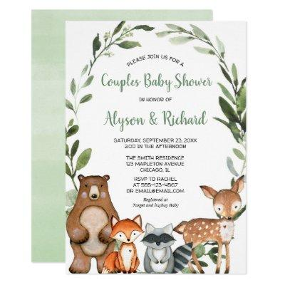Woodland couples baby shower, gender neutral invitation