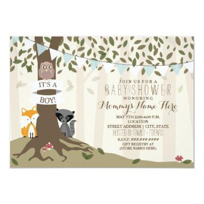 Woodland Creatures - Boy Invitations