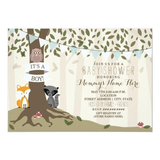 Woodland Creatures Baby Shower - Boy Invitations