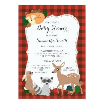 Woodland Creatures Baby Shower Buffalo Plaid Invitations