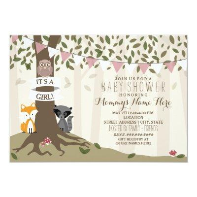 Woodland Creatures Baby Shower - Girl Invitations
