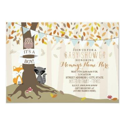 Woodland Creatures Fall Autumn Baby Shower - Boy Invitations