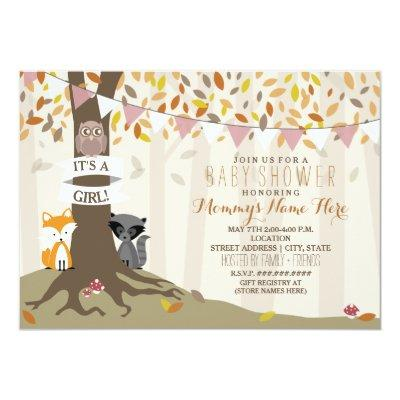 Woodland Creatures Fall Autumn Baby Shower - Girl Invitations