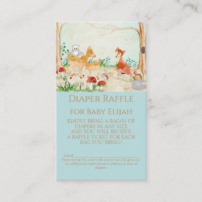 Woodland Creatures Fox Deer Diaper Raffle Boy Baby Business Card