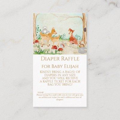 Woodland Creatures Fox Deer Diaper Raffle Rustic Business Card