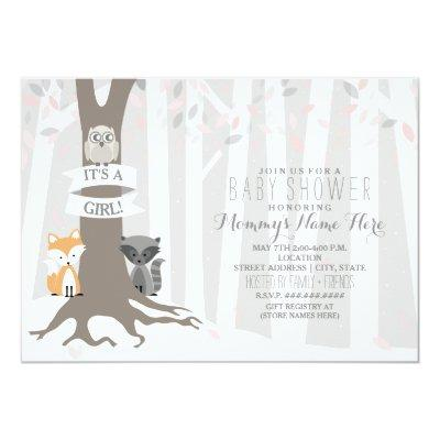 Woodland Creatures Winter Baby Shower - Girl Invitations