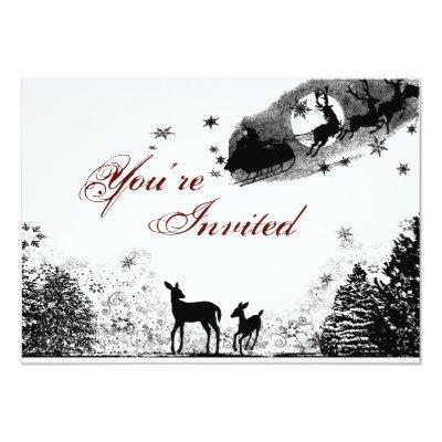 Woodland Deer and Santa Christmas Invitations