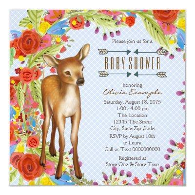 boys woodland baby shower invitations baby shower invitations, Baby shower invitations