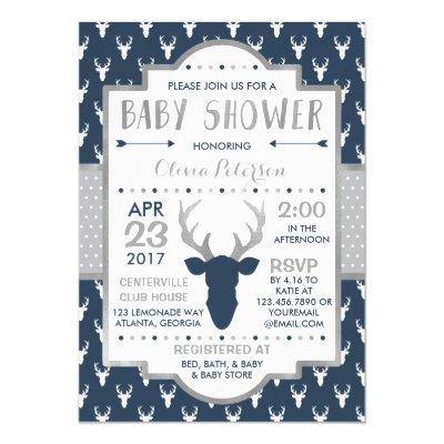 Woodland Deer , Faux Foil Invitations
