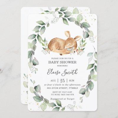 Woodland Deer Rustic Greenery Leafy Baby Shower Invitation
