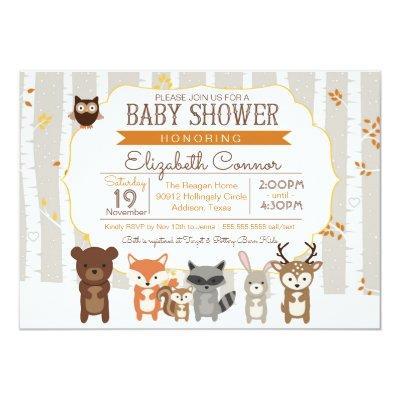 Woodland Fall / Winter Baby Shower Invitations