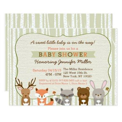 Woodland Forest Animal Invitations