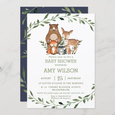 Woodland Forest Animals Baby Shower Greenery Invitation