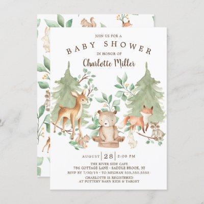 Woodland Forest Animals Neutral Baby Shower Invitation
