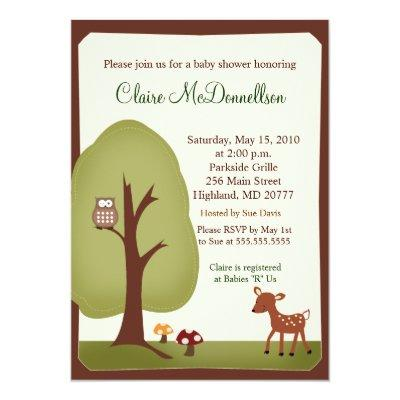 Woodland Forest Nature Baby Shower Invitations