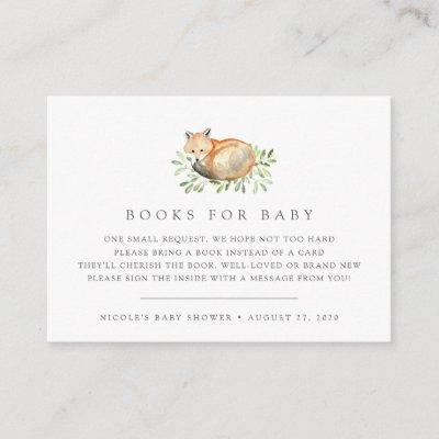 Woodland Fox Baby Shower Book Request Cards
