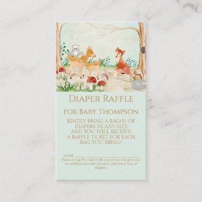 Woodland Fox Deer Diaper Raffle Gender Neutral Business Card