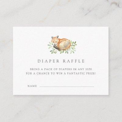Woodland Fox Diaper Raffle Ticket Invitations