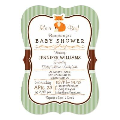 Woodland Fox; Orange, Sage, Brown Invitations