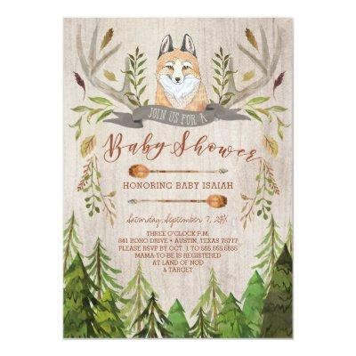 woodland fox rustic invitations