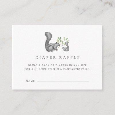 Woodland Friends Diaper Raffle Ticket Cards