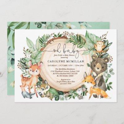 Woodland Greenery Animals Neutral Baby Shower Invitation
