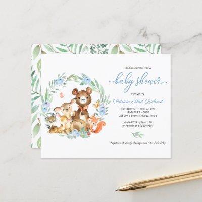 Woodland Greenery Budget Baby Shower Invitation