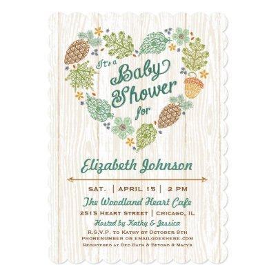Woodland Heart Baby Shower Invitation