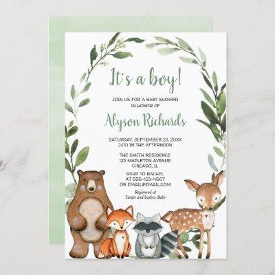 Woodland It's a boy forest friends baby shower Invitation