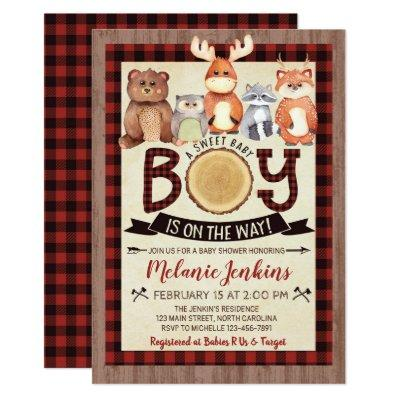 Woodland Lumberjack Boy Baby Shower Invitations