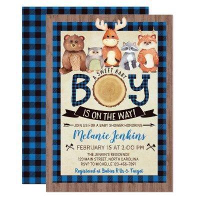 Woodland Lumberjack Boy Baby Shower Invitations
