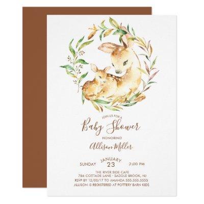 Woodland Mom & Little Deer Baby Shower Invitations