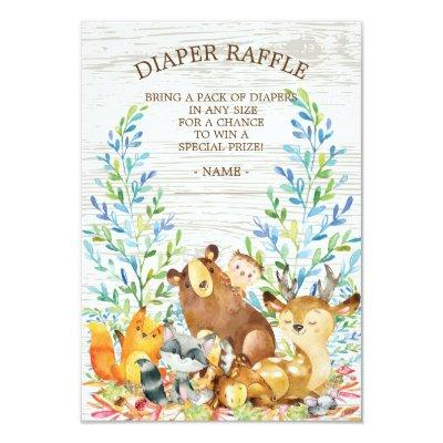 Woodland Neutral Baby Shower Diaper Raffle Ticket Invitations