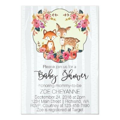 Woodland Nursery Baby Deer and Fox Invitations
