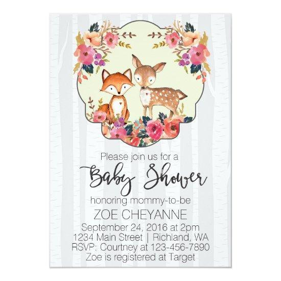 Woodland Nursery Baby Deer And Fox Baby Shower Invitations