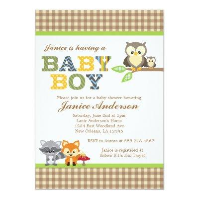Woodland Owl Baby Shower Invitations Boy