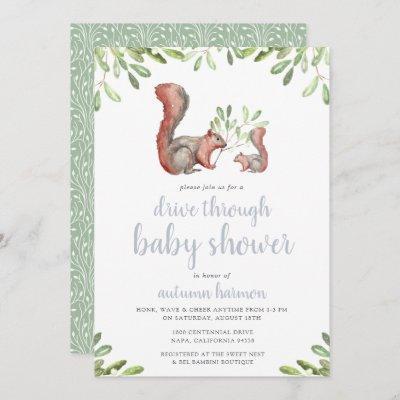 Woodland Red Squirrel Drive Through Baby Shower Invitation