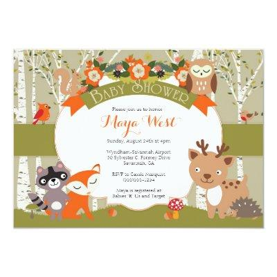 woodland animal baby shower baby shower invitations | baby shower, Baby shower invitations