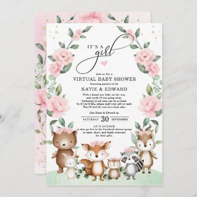 Woodland Virtual Baby Shower Blush Floral Animals Invitation