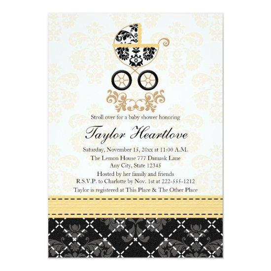 Yellow And Black Damask Baby Carriage Baby Shower Card Baby Shower