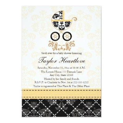 YELLOW AND BLACK DAMASK BABY CARRIAGE BABY SHOWER Invitations