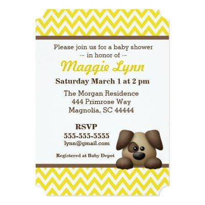 Yellow and Brown Puppy Baby Boy Shower Invitation